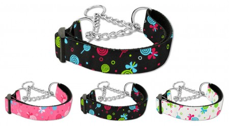 Martingale Dog Collars With Chain Loop