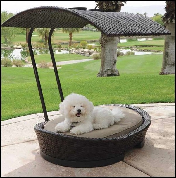 Grey Wicker Dog Bed