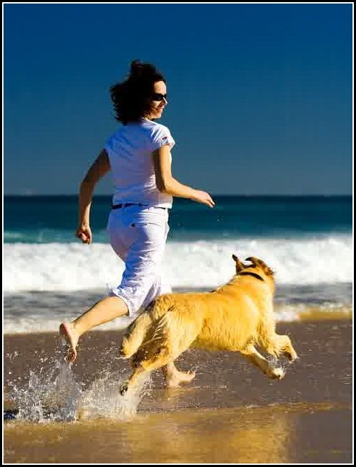Girl Running With Dogs